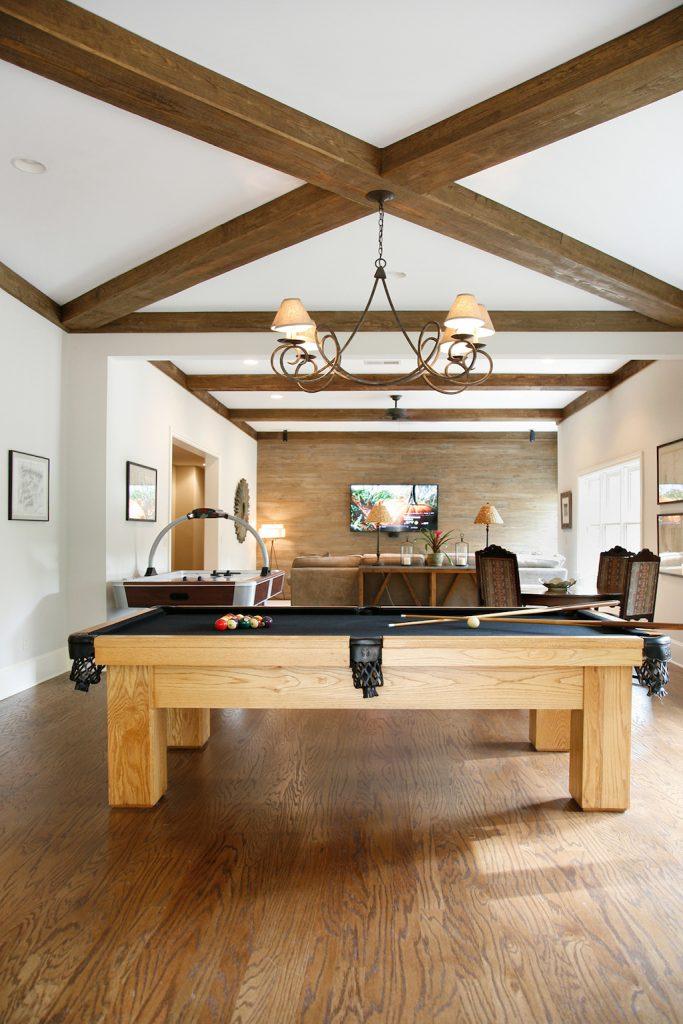 exposed beam ceiling trends in basement game room