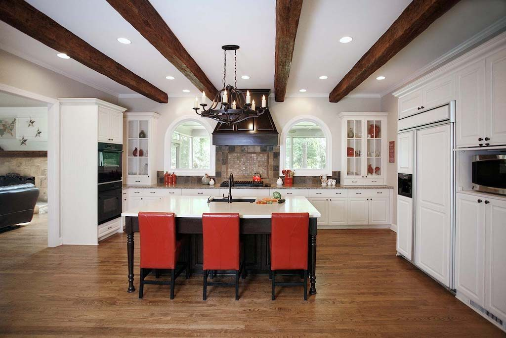 open concept kitchen with beams