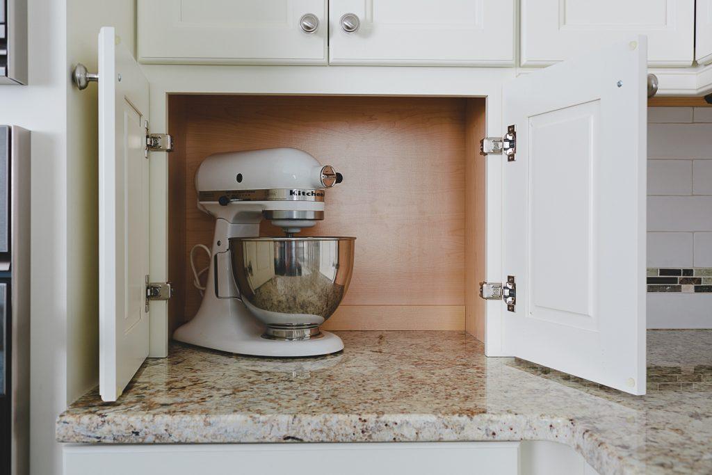 Minimalist kitchen, appliance garage with Kitchenaid mixer