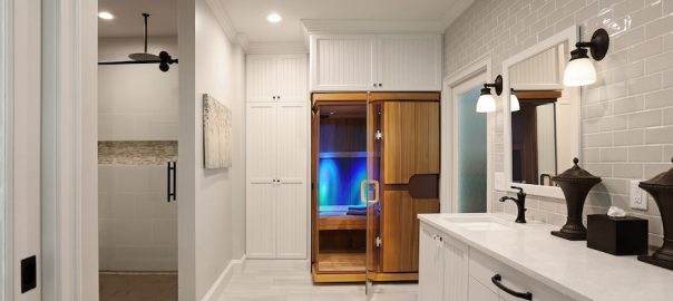 infrared sauna in master bath
