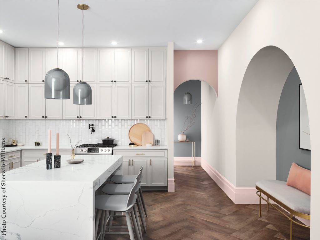 Sherwin-Williams color trend mantra palette kitchen, pink
