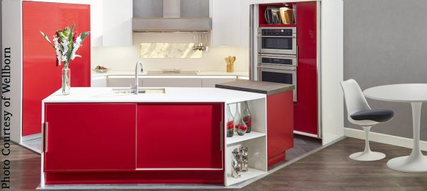 Wellborn, red color trend modern kitchen