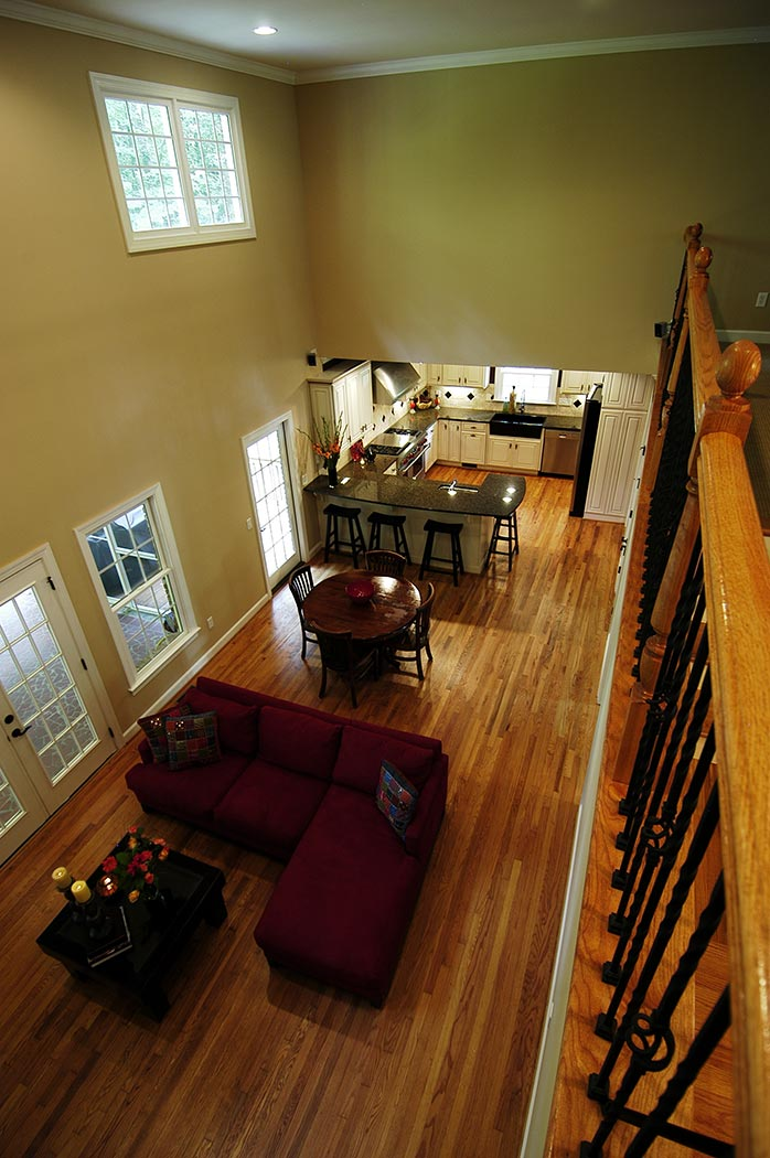 View of living room from second floor balcony