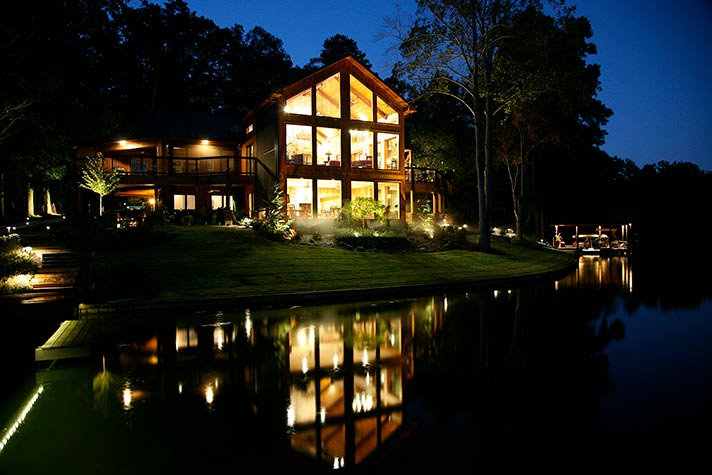 Exterior of Lake House Remodel at night