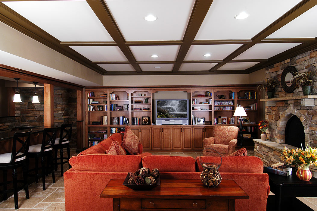 Complete view of basement with wetbar, built-in bookcases, fireplace