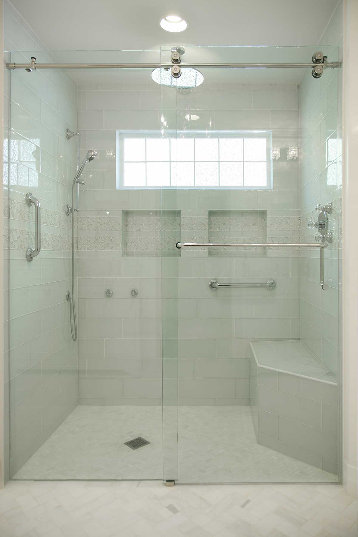 View of shower through frameless shower doors