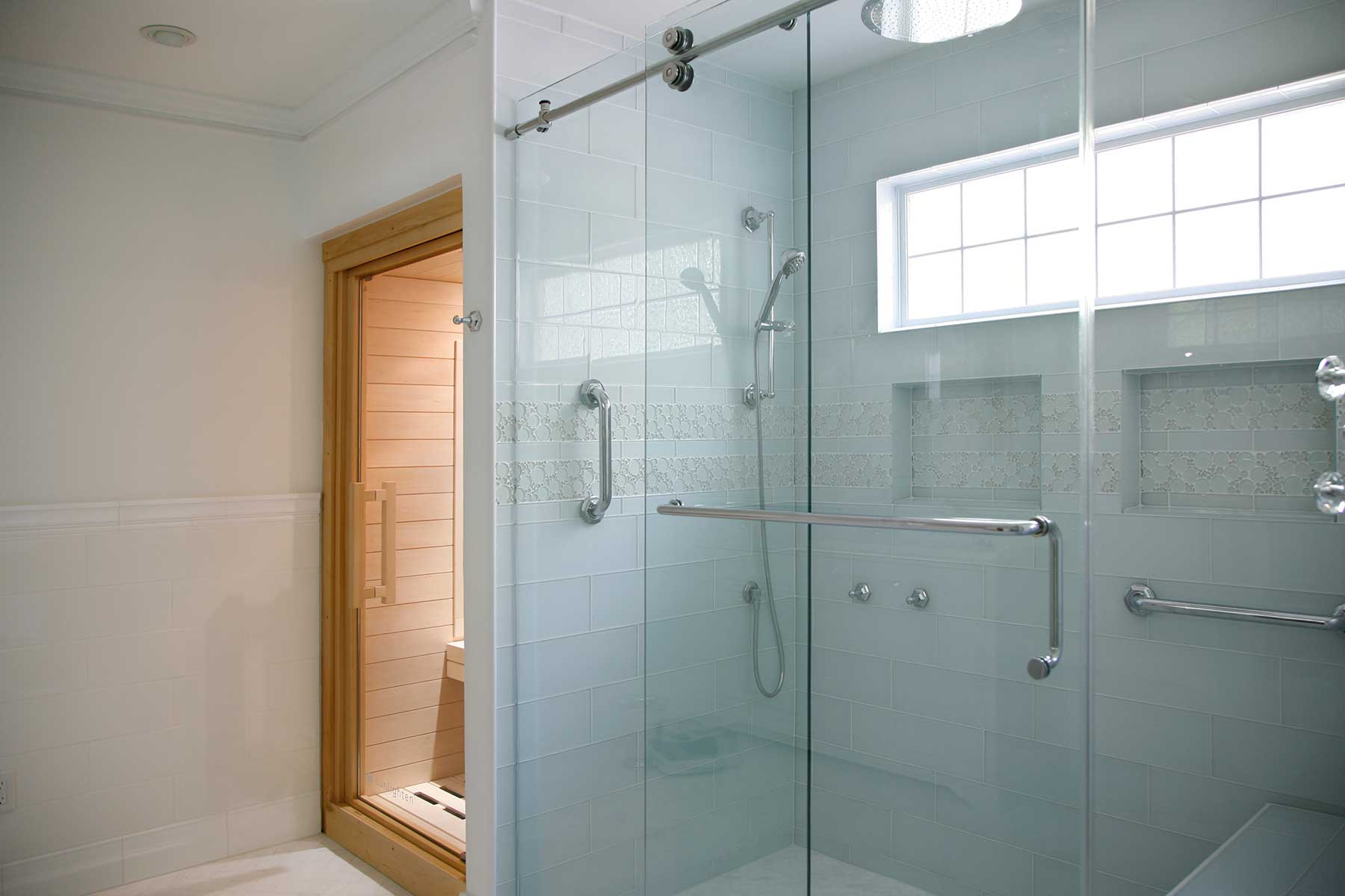 View of shower and sauna