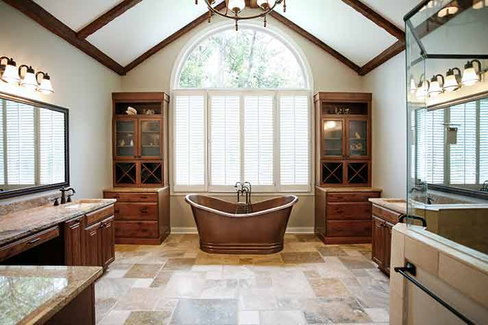 luxurious bathroom with copper tub