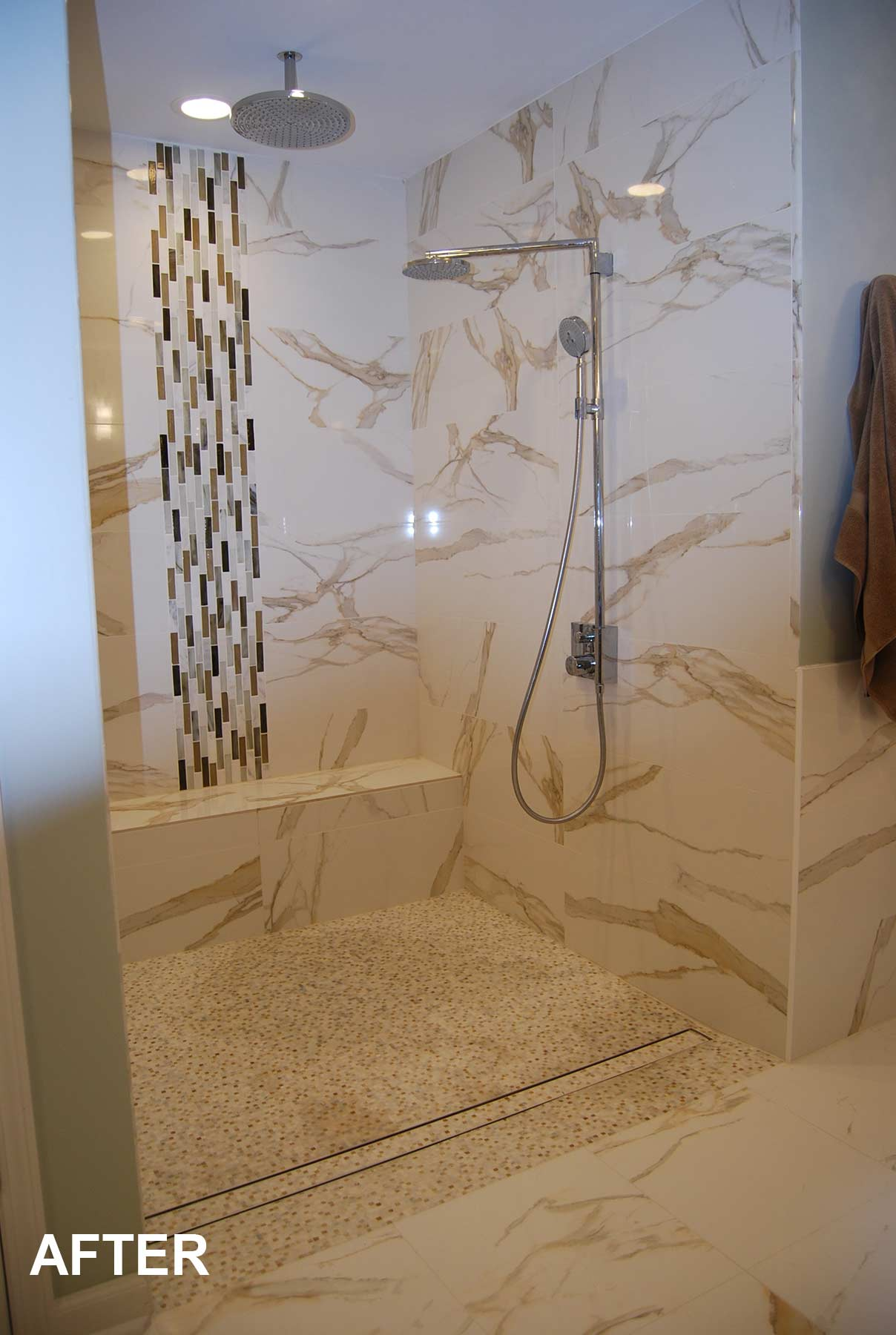 View of curbless shower after remodeling
