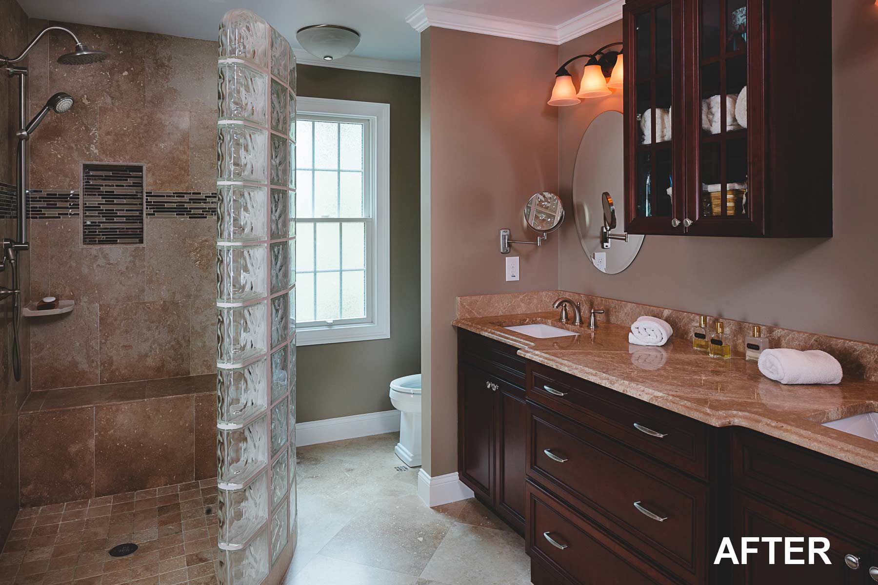 Master bathroom remodel with custom walk-in shower