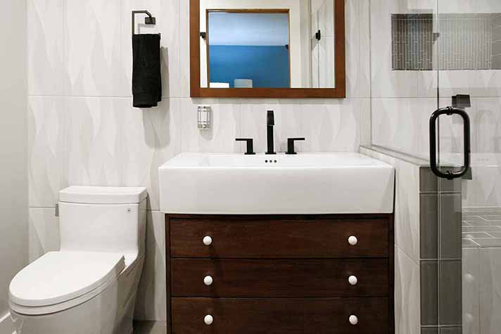 remodeled lake house bathroom