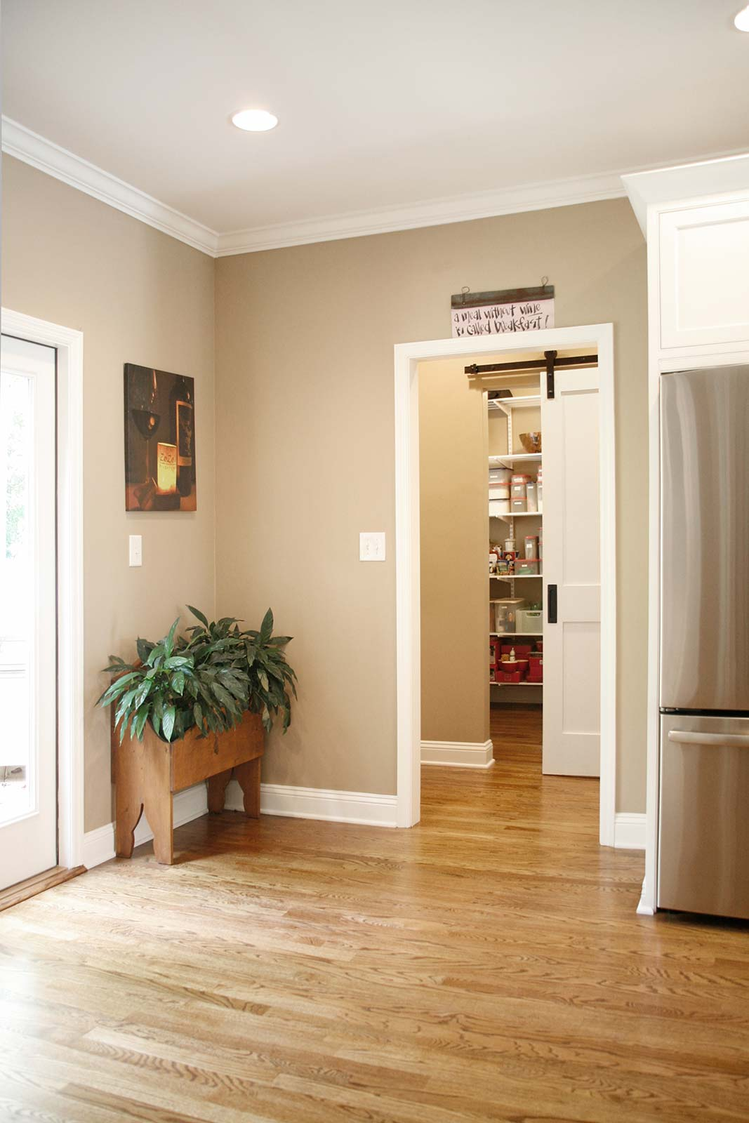 Barndoor for pantry, open