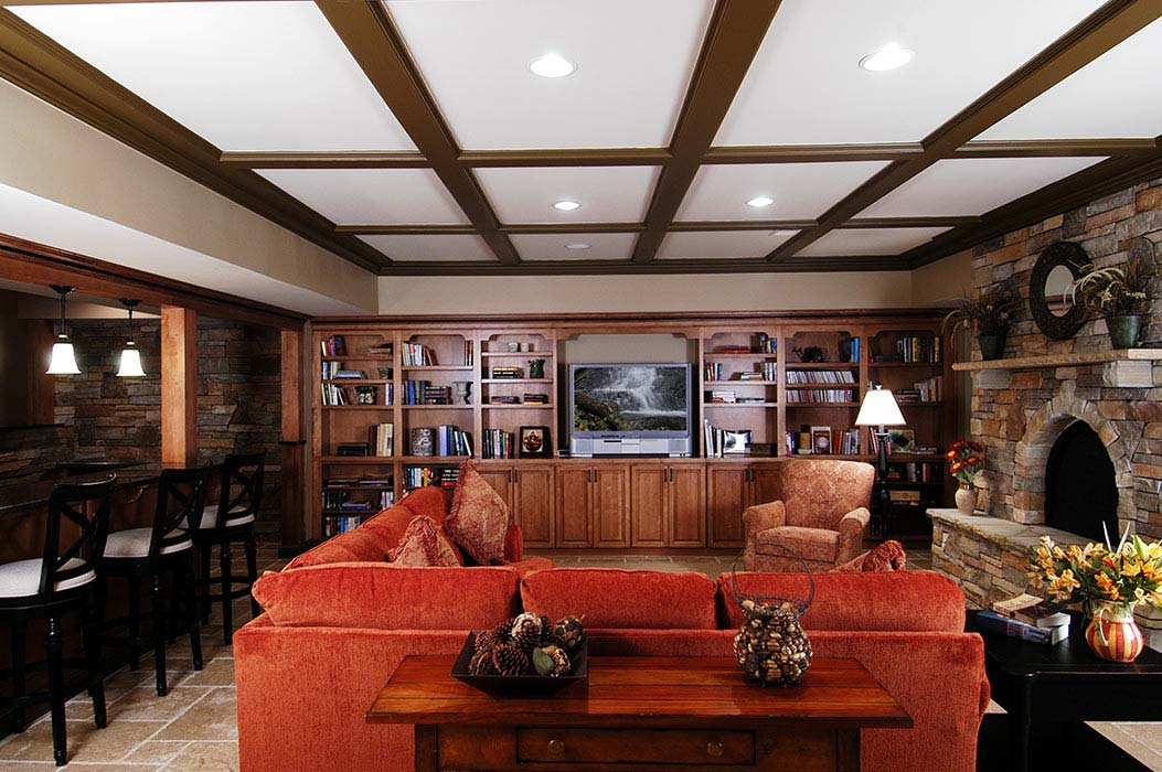 Classic-style coffered ceiling in basement
