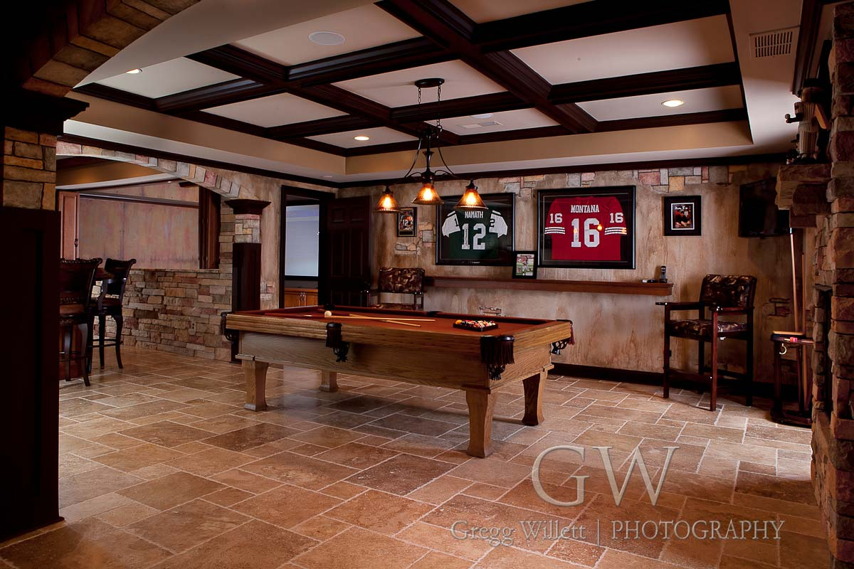 Deep coffered ceiling in gameroom addition