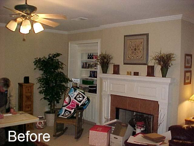 Before fireplace was redesigned