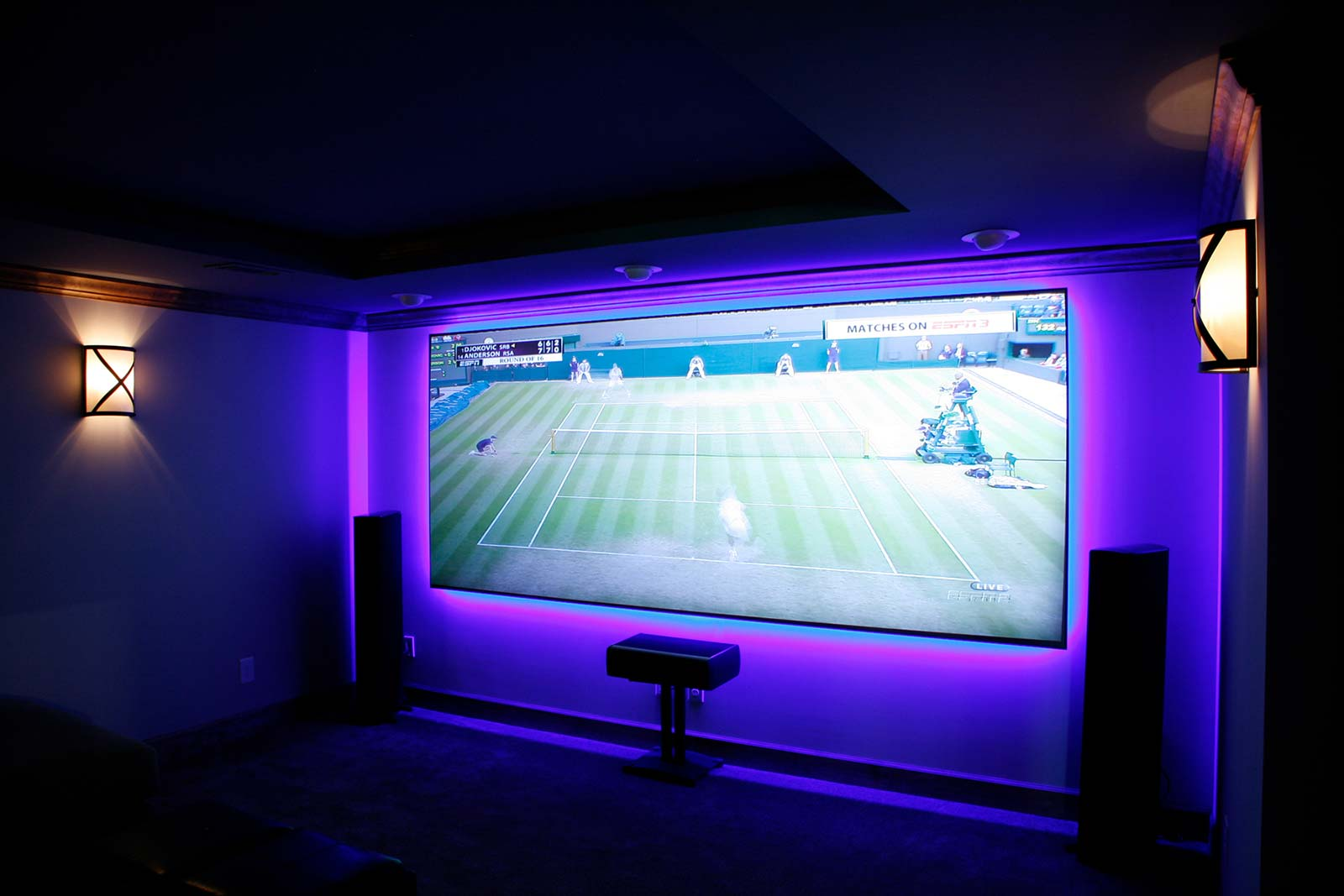 Home theater screen with lights off