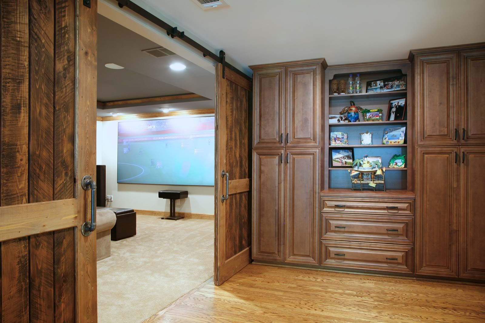 Barndoors to home theater open