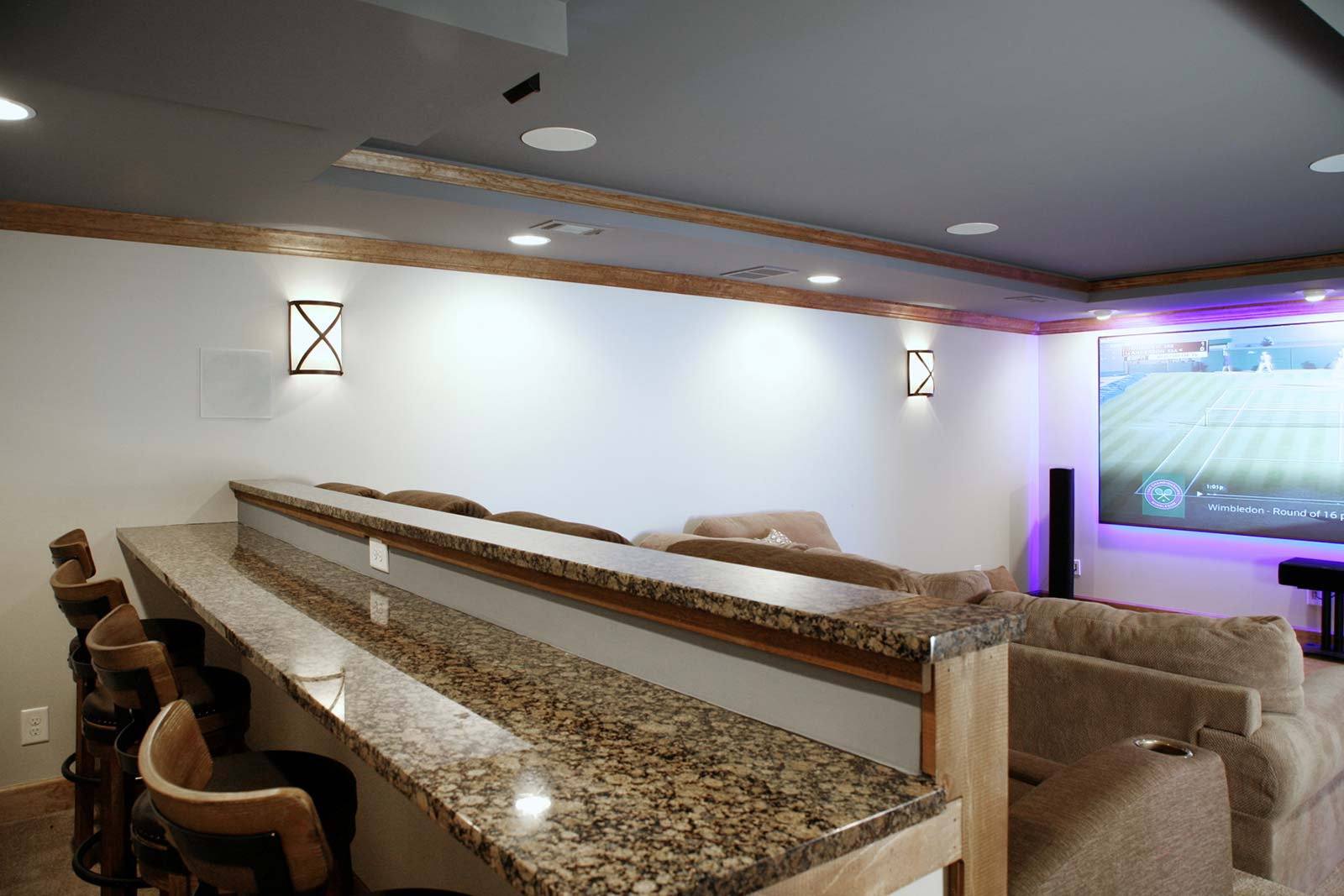 Dine-at counter in home theater