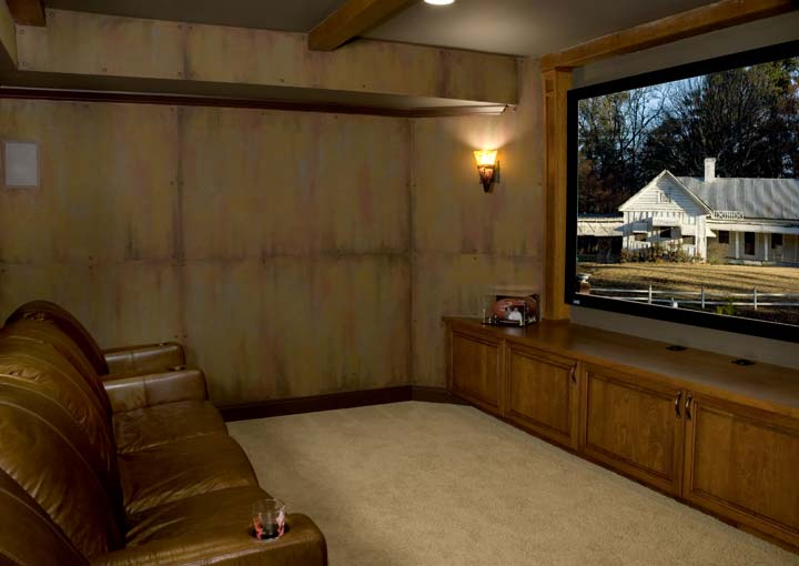 Front row of basement home theater