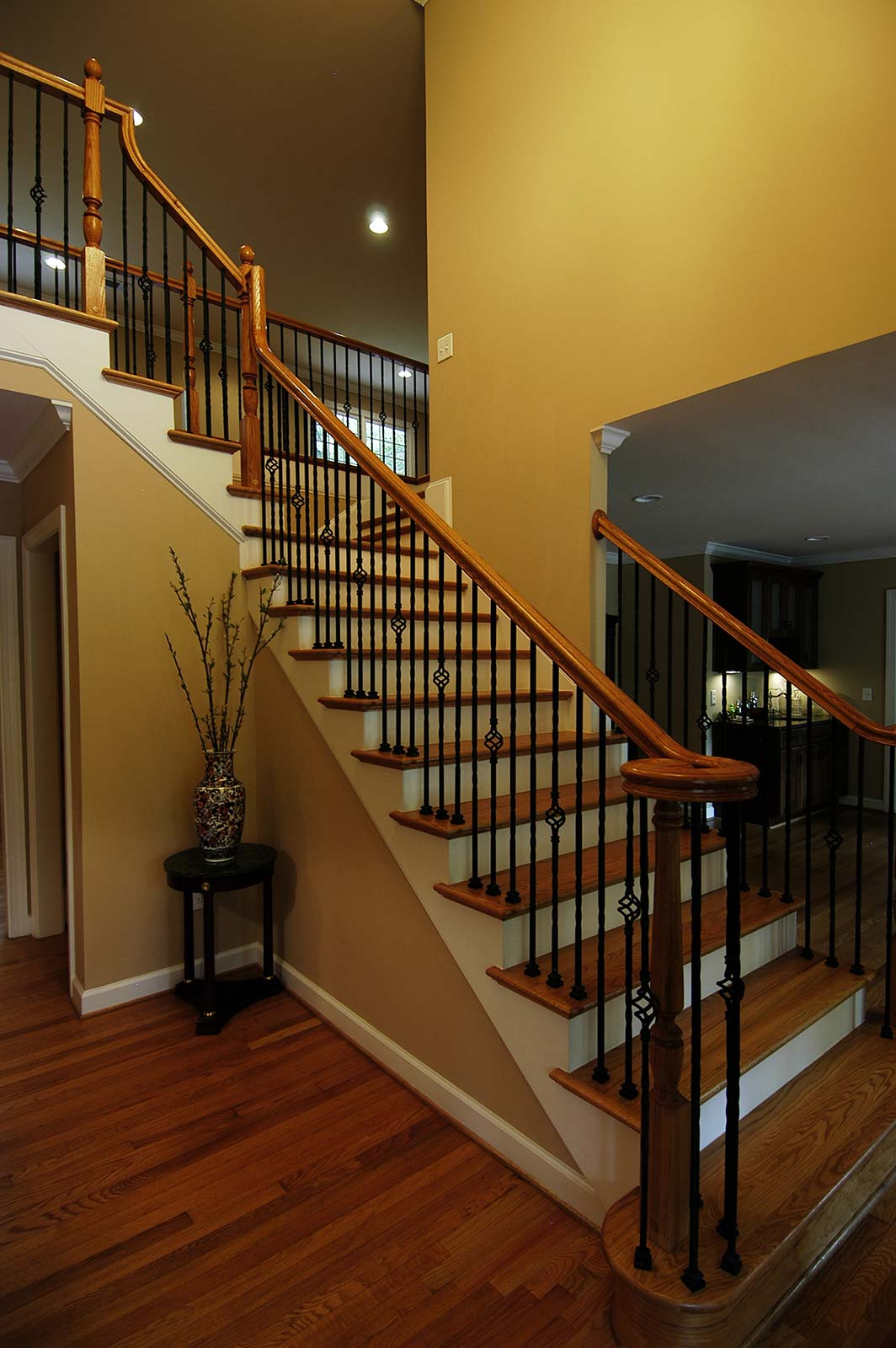 Classic open stairway added to access second floor