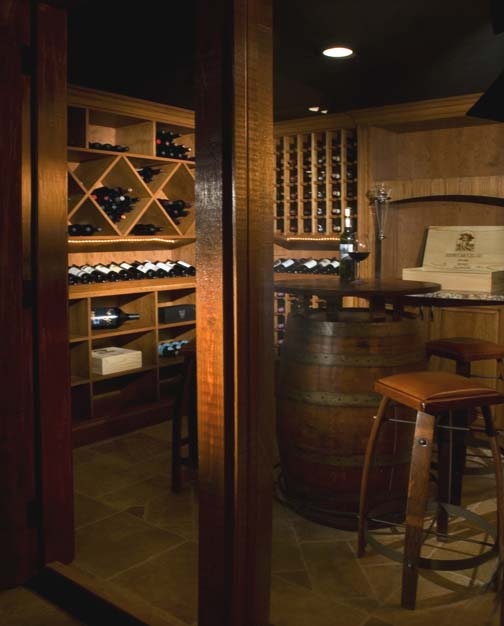View into wine cellar and tasting room