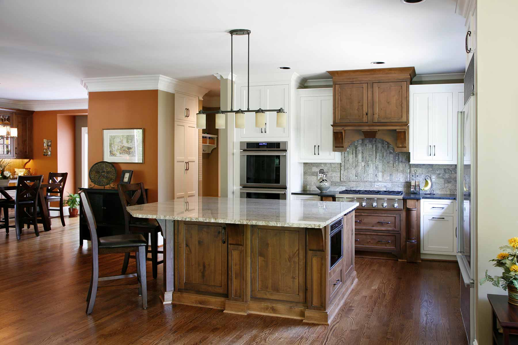 Natural wood and stone finishes were used in this kitchen remodel