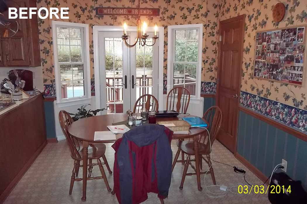 View of kitchen dining area before remodeling