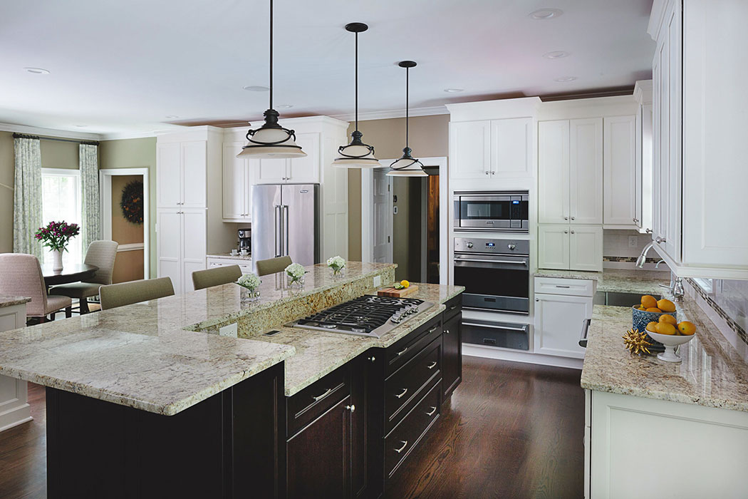 View of kitchen island with cooktop