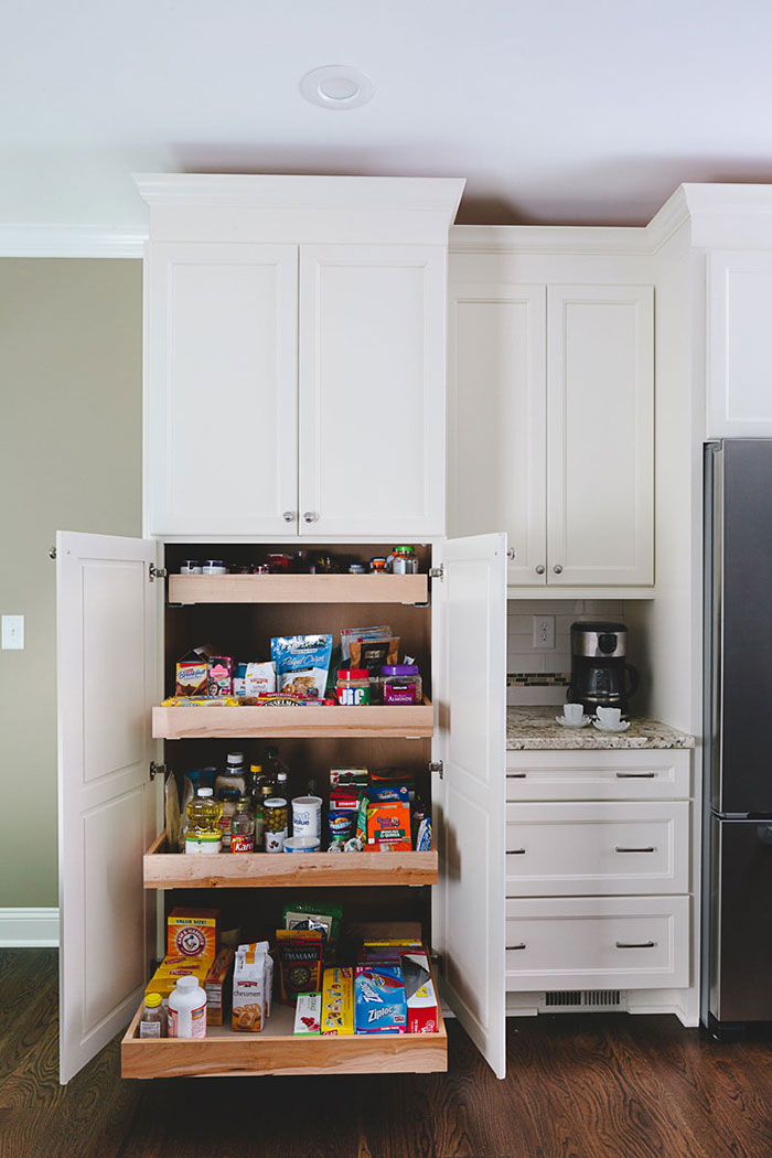 Pull-out pantry drawers were added when remodeling this kitchen