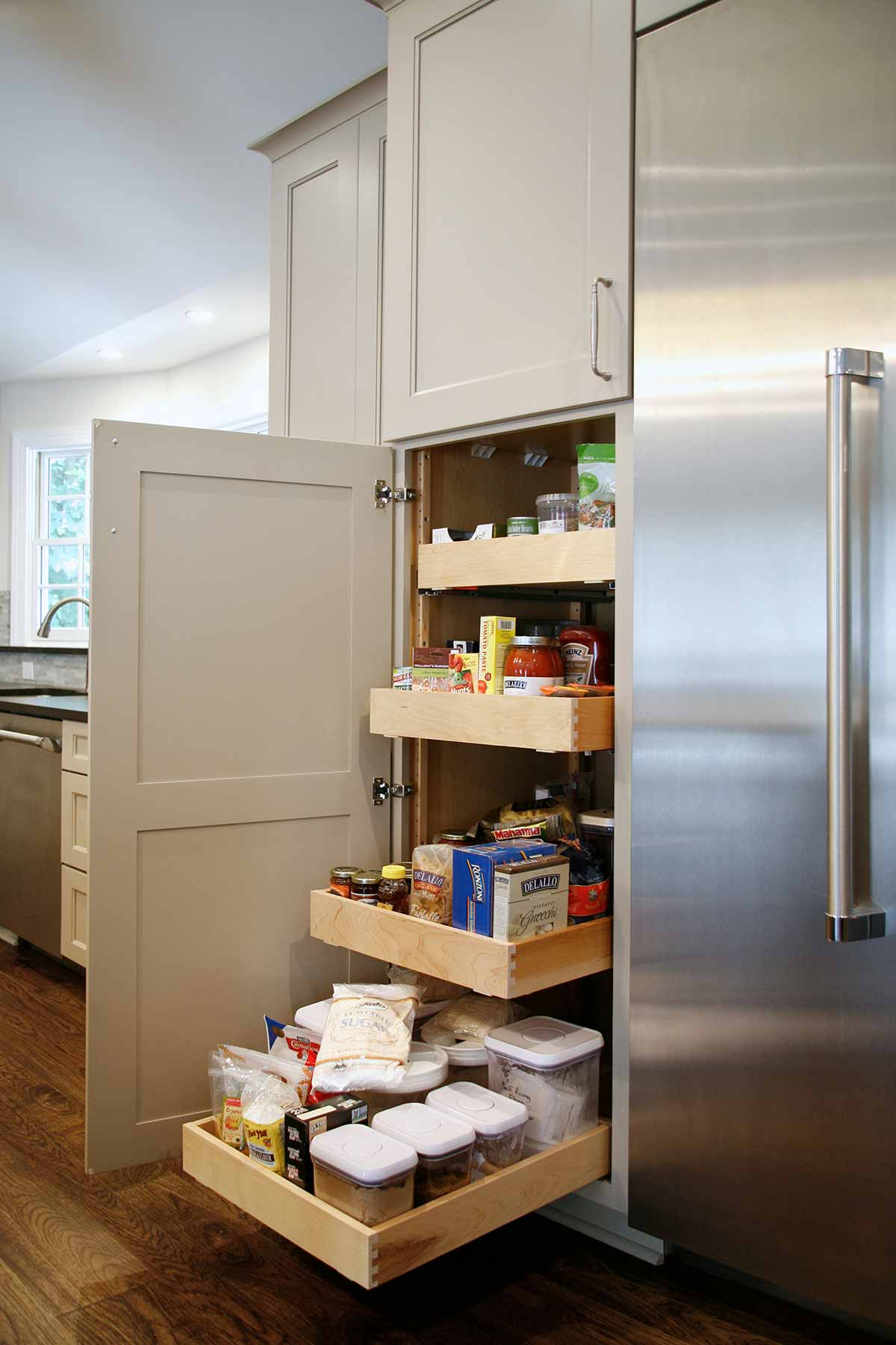 Pull-out storage pantry after renovation