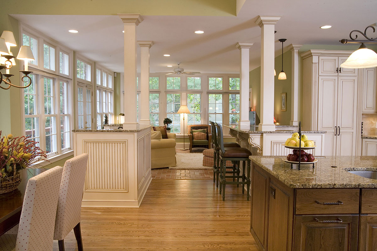 The open floorplan allows a view from the kitchen island to living room