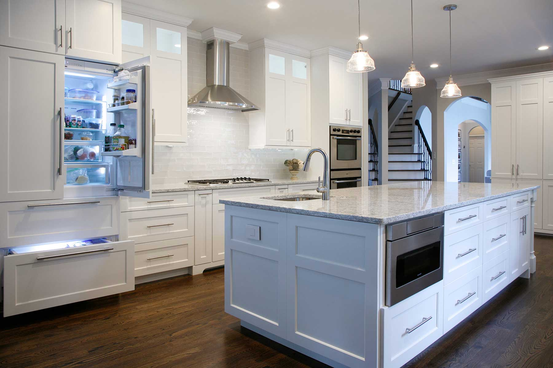 Integrated refrigerator blends perfectly with kitchen cabinets