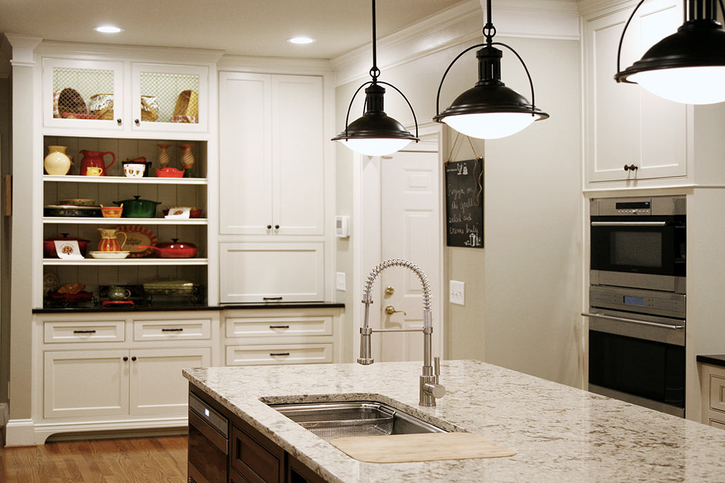 Kitchen island sink and industrial stye pendant lights