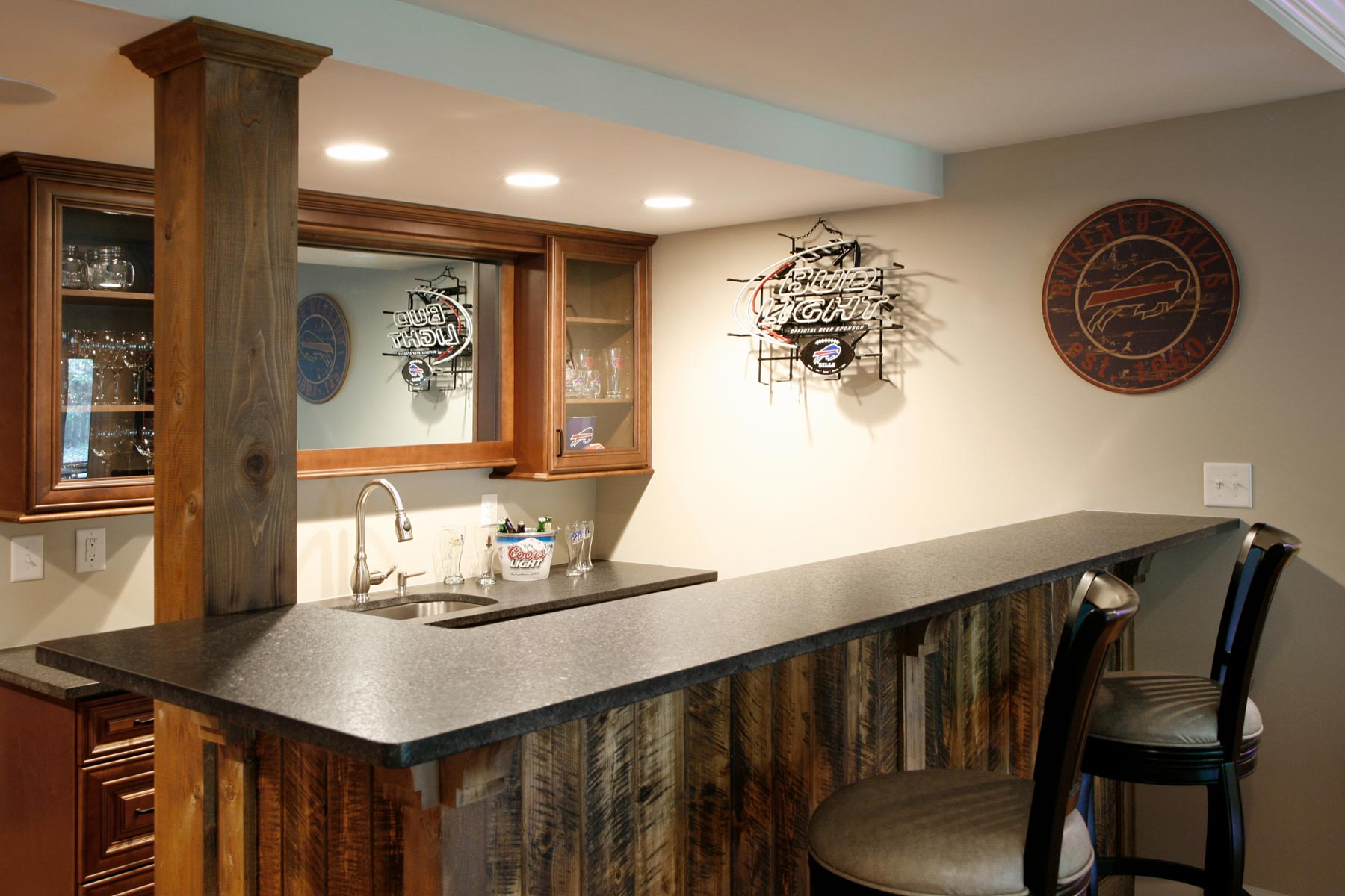 Close-up on basement bar