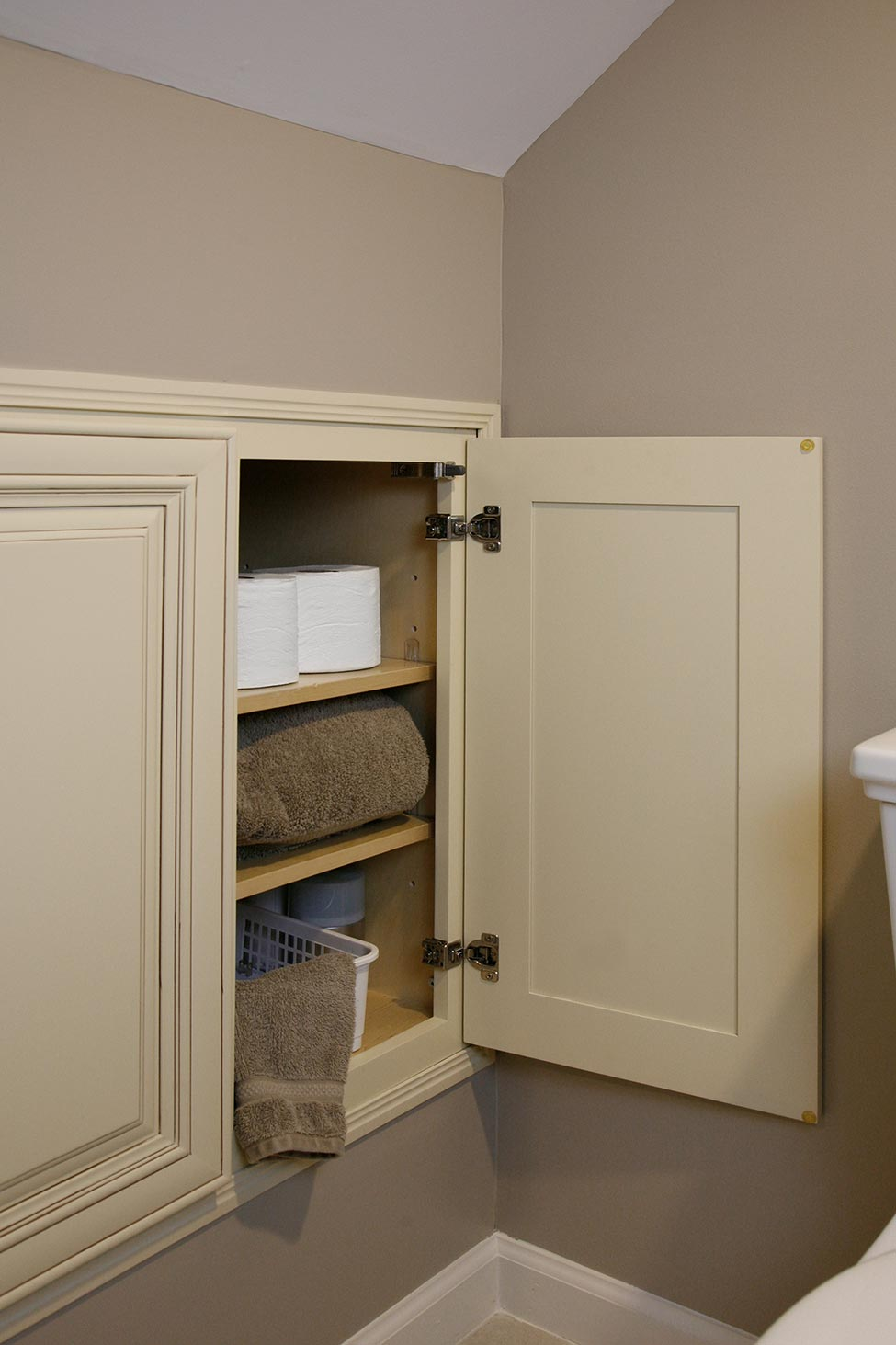 Built-in storage in second bathroom